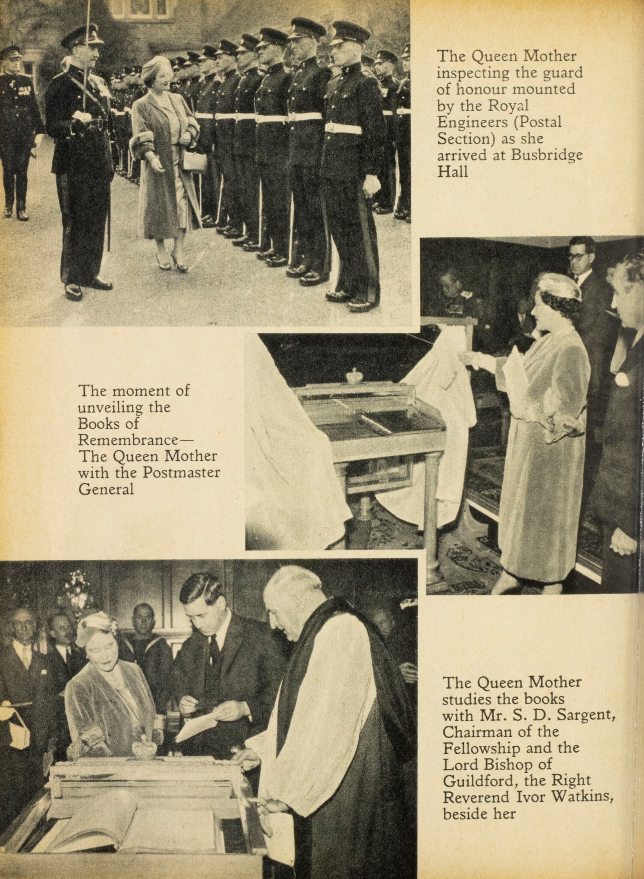 Photos and captions of the original unveiling of the memorial books. Post Office Magazine, May 1957