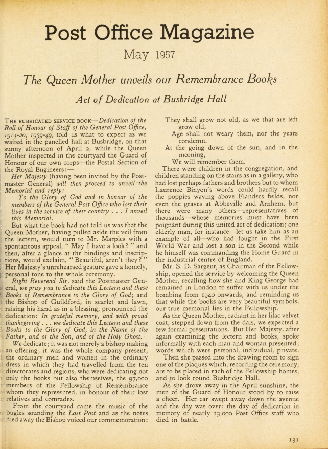 Article of the original unveiling of the memorial books. Post Office Magazine, May 1957