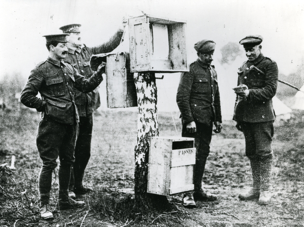 Improvised posting boxes in the field during the First World War, c.1915 (POST 118/5427)