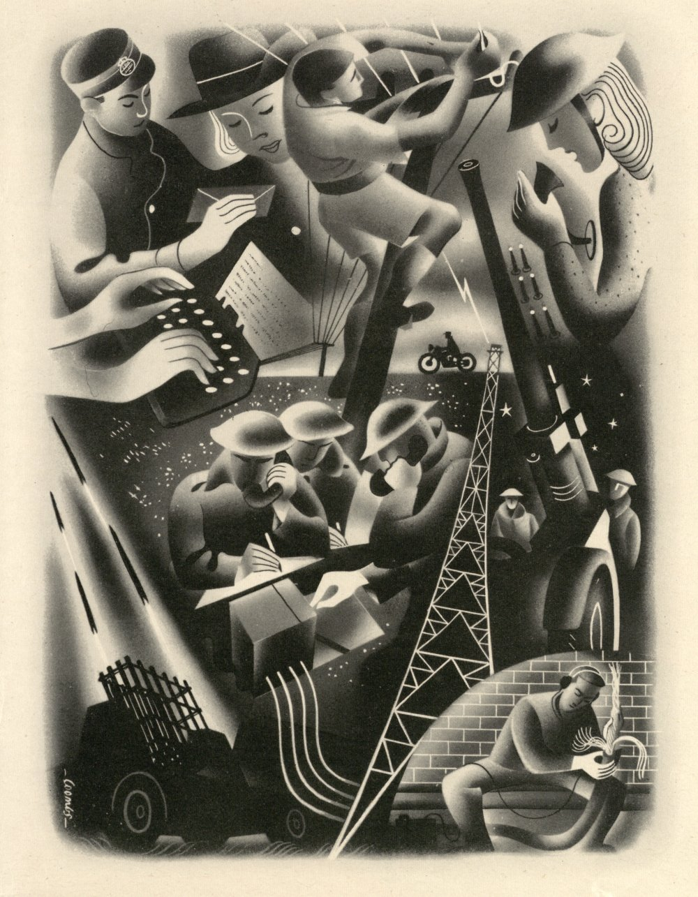 Artwork from 'The Post Office Went to War' publication, 1946 © BT Heritage & Archives