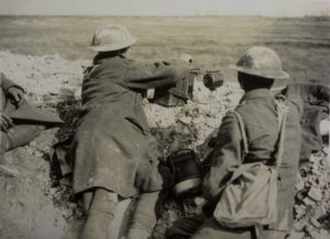 Soldiers using light signalling equipment in the trenches, WWI © BT Heritage & Archives